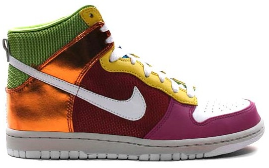 info for 556f7 38d12 Nike Womens Dunk High multicolored Red Pink Gold